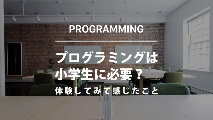 プログラミングは小学生に必要?体験してみて感じたこと