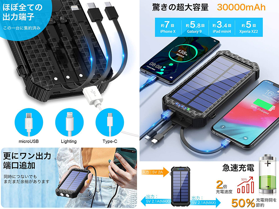【レビュー】DeliTooソーラーモバイルバッテリー30000mAh特徴その2