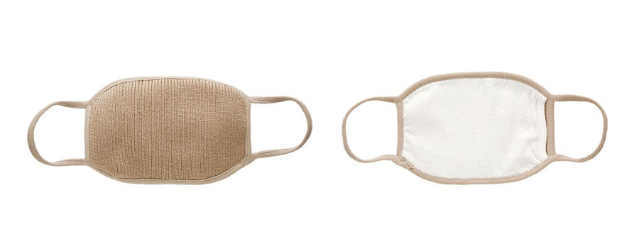 内側オーガニックコットン使用 冬用マスク「HOT HOT (ヌードベージュ)」2